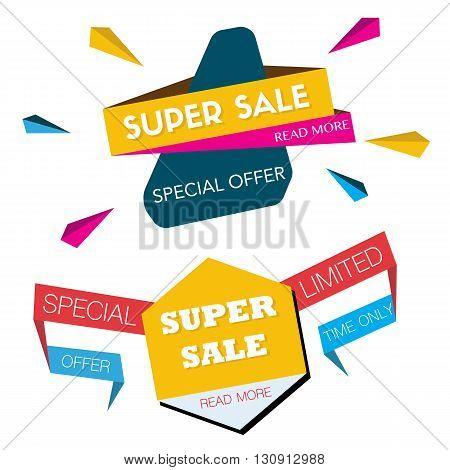 Super Sale banner. Sale in vector illustration.