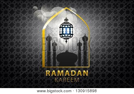 Islam, Arabic, Muslim Background In Arch. Vector Sunset Sky, Clouds. Celebration Card For Eid Ul Adh