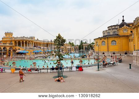 BUDAPEST HUNGARY - 25 JUNE 2014: Szechenyi thermal baths in Budapest. Famous popular vintage baths. Vacation (travel) concept.