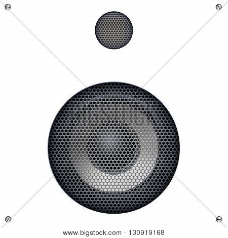 Background with sound speakers dynamics and metal mesh. Audio speaker on background with bolts. Vector Illustration. Great background for advertising and design
