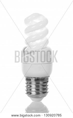 Energy-saving fluorescent lamp isolated on white background.