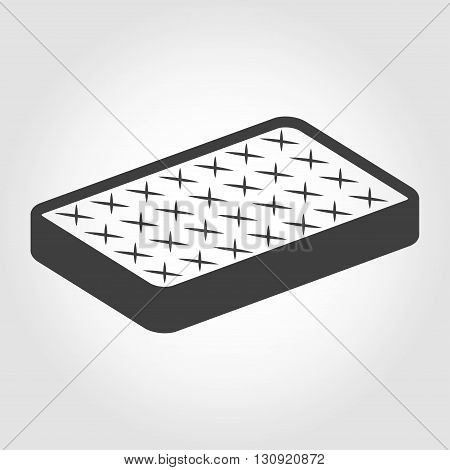 Vector black mattress icon on white backgroud.