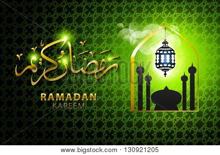 Vector Illustration Of Religious Green Color Eid Background Design With Mosque.
