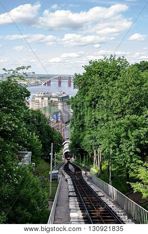 Kyiv cable railway view from the hill