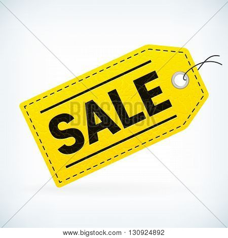 Yellow leather business SALE vector label. Business SALE detailed label. Isolated from background. Editable sale tag.