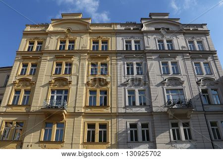 Classical building facade in the city of Prague