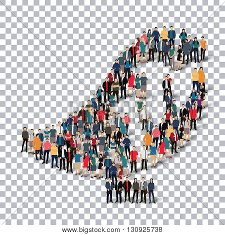 A group of people in the form of a bird , transparent,   isometrick , web infographics concept  illustration of a crowded square, flat 3d. Crowd point group forming a predetermined shape. Creative people.Transparency grid. 3D illustration.