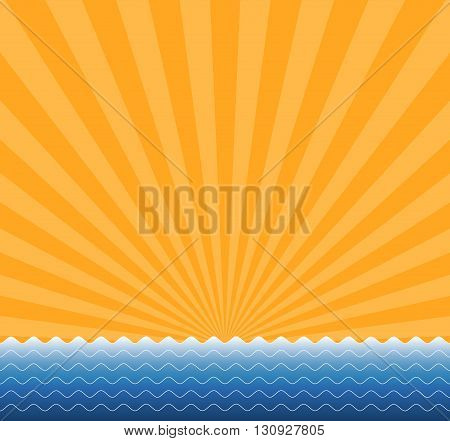 Vector background of the sun and the sea. Abstract summer background.