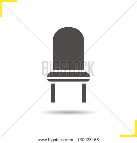 Chair icon. Drop shadow upholstered chair silhouette symbol. Kitchen furniture item. Kitchen chair logo concept. Vector classic chair isolated illustration