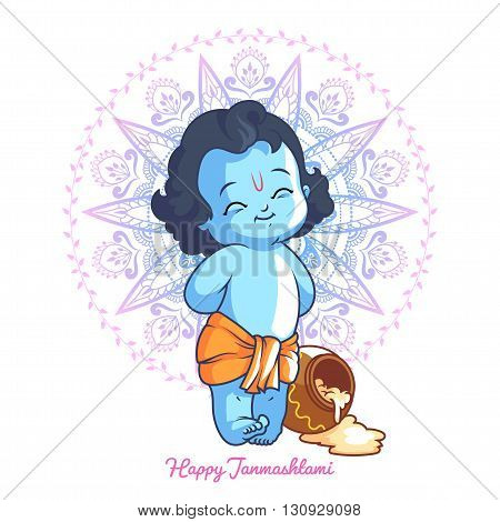 Little cartoon Krishna with a pot of butter. Greeting card for Krishna birthday. Vector illustration isolated on a white background.