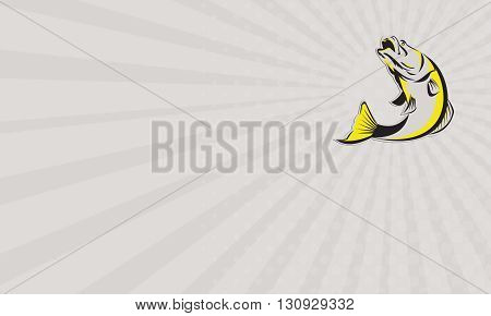 Business card showing illustration of a jumping barramundi or Asian sea bass (Lates calcarifer) on isolated background done in retro style.