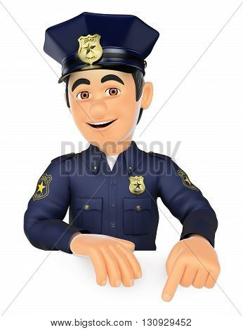 3d security forces people illustration. Policeman pointing down. Blank space. Isolated white background.