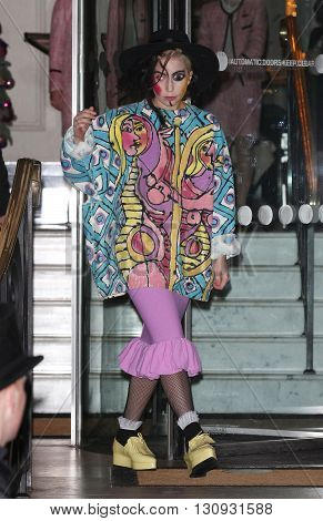 LONDON, UK - NOVEMBER 25, 2013: Lady Gaga seen leaving the Lanesborough Hotel in London