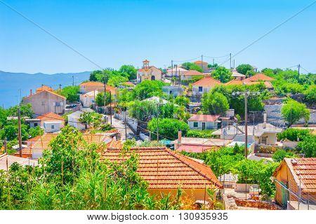 View of Neochori village, Kefalonia island, Greece