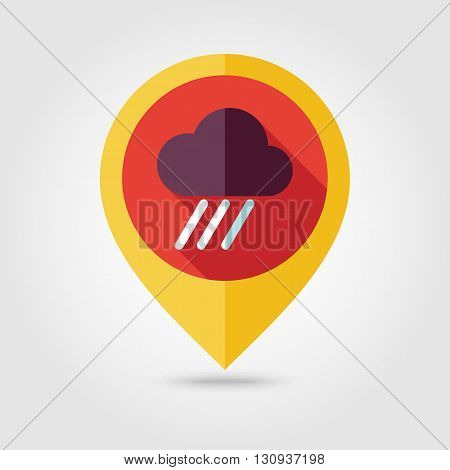 RRain Cloud flat pin map icon. Map pointer. Map markers. Downpour rainfall. Weather. Vector illustration eps 10