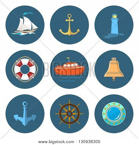 Set of Marine Icons, Sailing Vessel and Anchor ,Ship Wheel and Lifebuoy, Lifeboat and Porthole, Ship's Bell and Lighthouse, Nautical Symbol, Ship Equipment, Vector Illustration