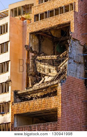 Ruins of Ministry of Defense Building from a aBombing in Belgrade - Serbia