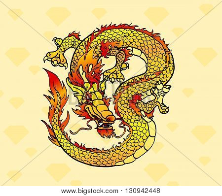 Yellow, ocherous Asian earth dragon on crystals background