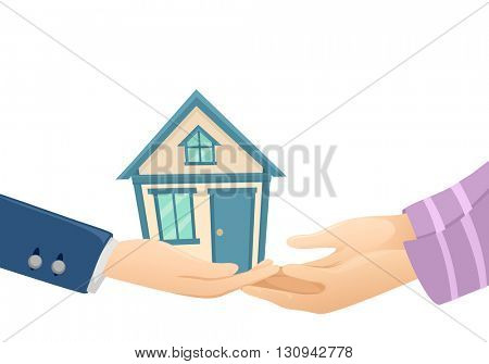 Illustration of a Seller Turning a House Over to the Buyer
