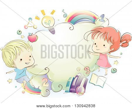 Illustration of Kids Surrounded by Educational Materials