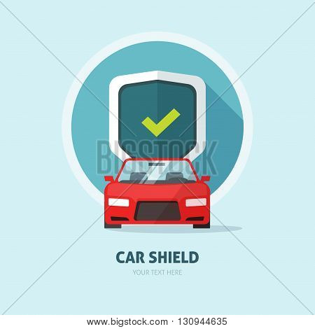 Car guard shield sign, collision insurance shop logo, auto tuning service emblem, concept of car protection, security, driver license, flat security system badge, anti theft modern design label