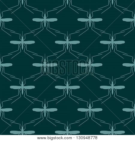 Seamless pattern. Vector abstract background. Mosquito silhouette icons. Insect transmitted diseases relative backdrop