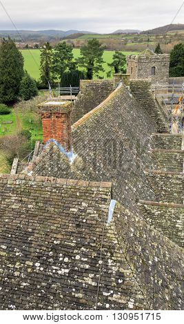 STOKESAY ENGLAND - FEBRUARY 21: Rooftop detail viewed from South Tower of Stokesay Castle. In Stokesay Ludlow England. On 21st February 2016.