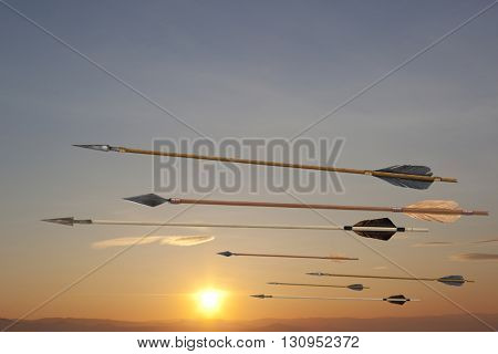 Flying antique old wooden arrows. The army of Genghis Khan