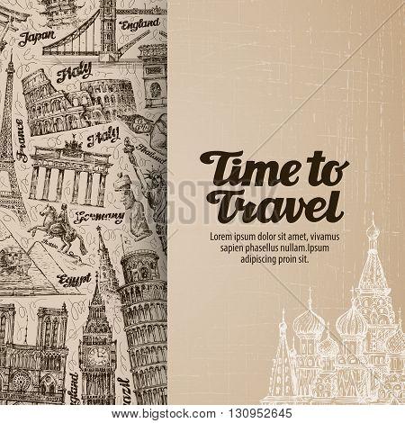 journey, travel. design template banner or flyer. vector illustration