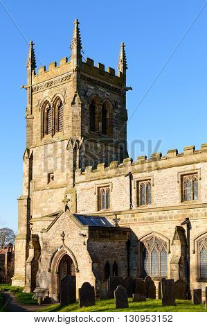 WYMESWOLD ENGLAND - JANUARY 15: View of the rear entrance to St Mary's church. In Wymeswold England on 15th January 2016.