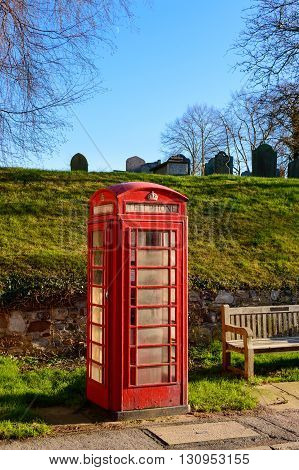 WYMESWOLD ENGLAND - JANUARY 15: A rural British red telephone box. In Wymeswold England on 15th January 2016.