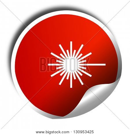 Laser warning sign, 3D rendering, red sticker with white text