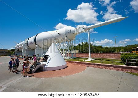 KENNEDY SPACE CENTER FLORIDA USA - APRIL 27 2016: Several rockets are exhibited in rocket garden in the visitor complex of Kennedy Space Center near Cape Canaveral in Florida