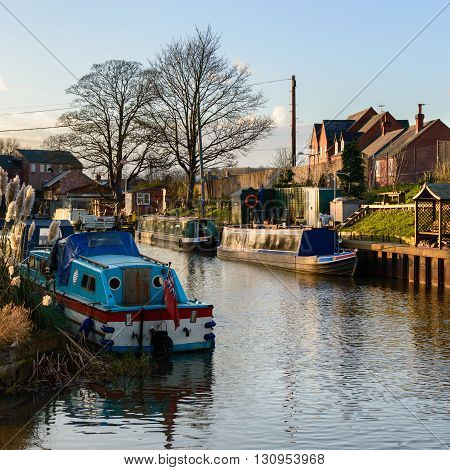 ZOUCH ENGLAND - JANUARY 15: Boats moored on the River Soar. In Zouch England on 15th January 2016.