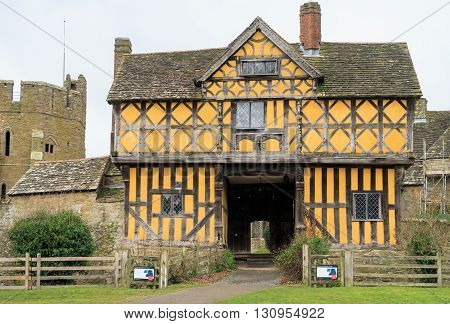 STOKESAY ENGLAND - FEBRUARY 21: The 17th Century timber framed gatehouse to Stokesay Castle. In Stokesay Ludlow England. On 21st February 2016.