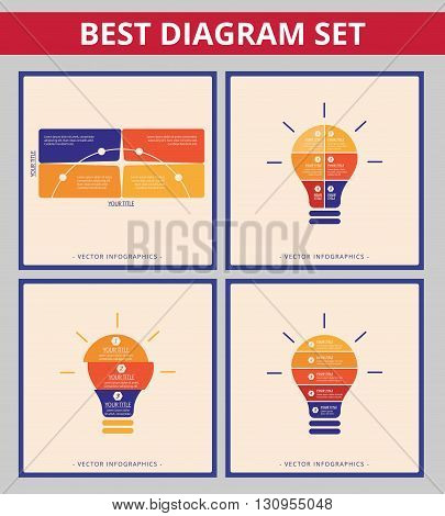 Business diagram set. Editable infographic templates for light bulb chart and matrix diagram