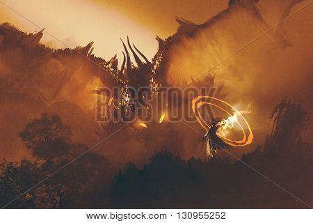 poster of calling of the dragon, magician summoning monster, sorcerer casts a spell