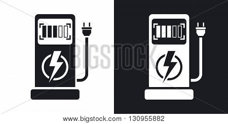 Vector electric car charging station icon. Two-tone version on black and white background
