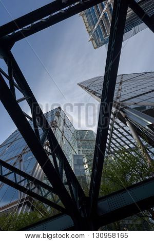 Tall London City Buildings And Metal Struts Abstract