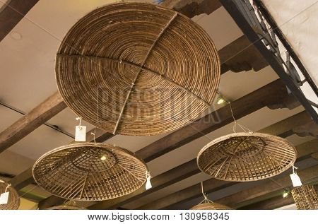 Baskets hang in a store in Cozumel Mexico