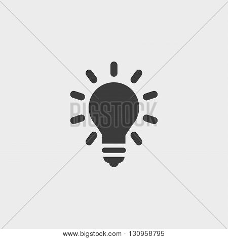 Lightbulb icon in a flat design in black color. Vector illustration eps10