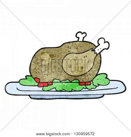freehand textured cartoon cooked turkey