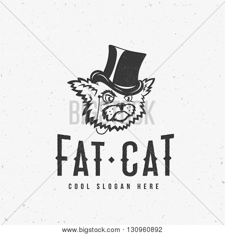 Fat Cat Abstract Vintage Vector Sign, Symbol or Logo Template with Shabby Textures and Print Effect. Isolated.