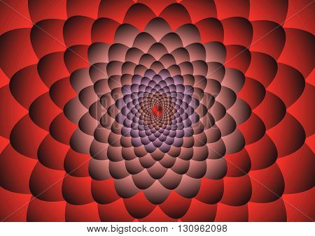 Red flower Illusion Background Vector Illustration design.