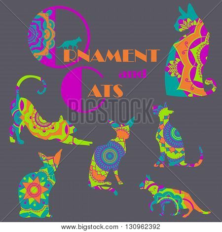 Set of colorful cats with mandala ornament. Vector illustration