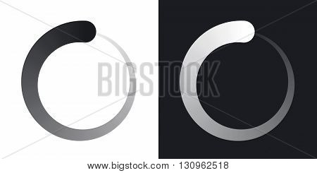 Vector loading icon. Two-tone version on black and white background