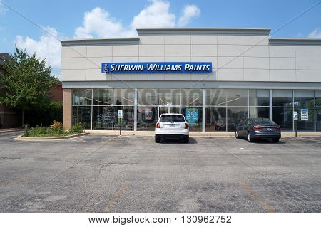 JOLIET, ILLINOIS / UNITED STATES - AUGUST 16, 2015: One may purchase paint at the Sherwin-Willians Paint Store in Joliet.