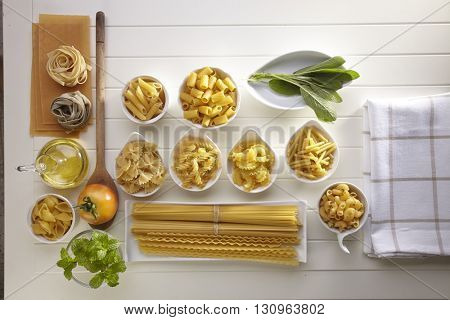 Variety of types and shapes of Italian pasta. Dry pasta