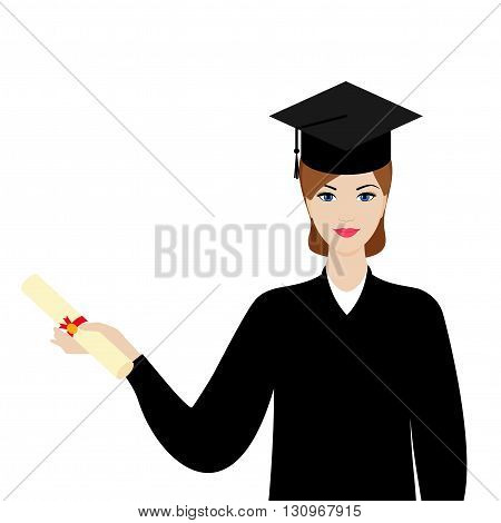 Graduate girl in the mantle keeps graduation diploma in hand