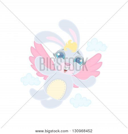 Rabit With Wings Flying Illustration In Cute Girly Cartoon Style Isolated On White Background
